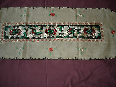 #071  Beautiful Vintage Hand-Embroidered Table Runner 39''/15''(100cm/39cm) 3