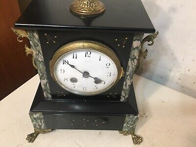 Antique French Slate Case Mantle Clock Urn Top Paw Feet Fancy Japy Marti era 3