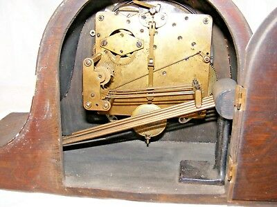 Antique Working Napoleon Hat Mantel Clock Brass Letters Westminster Chimes 2