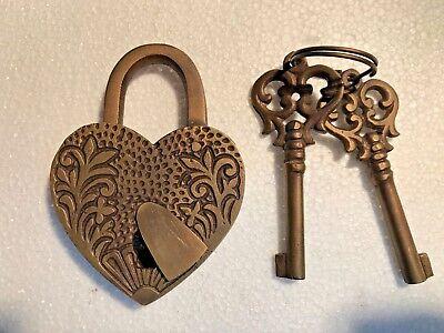 "HEART LOVE PADLOCK 3"" Vintage old stye 2 brass key lock engraved bridge heavy B 3"