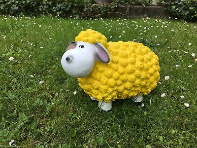 Garten Figur Lustiges Buntes Schaf Lamm mit Krone Deko Tier 48 Breit Grün Pink