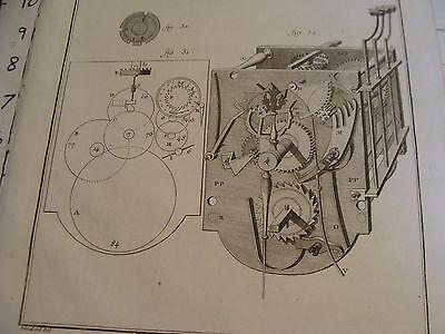 """Original engraving 1760's 10 1/2 x 16"""" PENDULE A QUARTS ET REPETITION ORDINAIRE 3"""