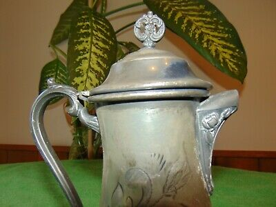 Antique Victorian Worn Imperial Taunton Mass Silver Plated SP Syrup Pitcher 1101 2