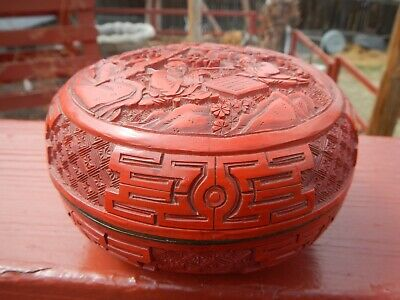 Antique Carved Chinese Cinnabar Lacquer Box Deep Vivid Red Figural Men Checkers 3