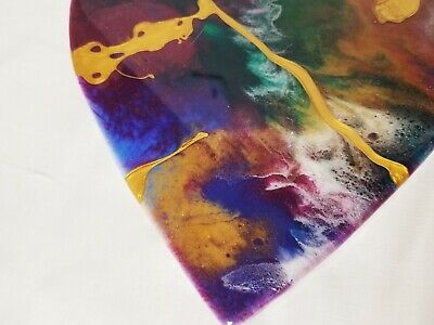 "8"" Resin Heart on Wood - Resin Art - Abstract Art - Resin Painting 6"