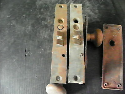 ANTIQUE HEAVY BRASS EXTERIOR LOCK WITH PLATES KNOBS (xtra lock for repair)  6292 3