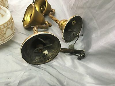 Antique Brass Victorian Sconce Pair Gold Guild Stenciled Glass Globes Vtg 33-18E 8