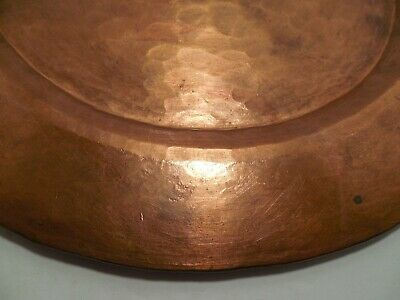 Vintage Arts & Crafts 12 inch Hammered Copper Plate 589 grams 3