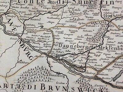 Germany Mecklenburg Dated 1692 Giacomo De Rossi Large Antique Engraved Map 9
