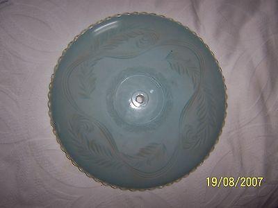 """Antique Vintage Globe Shade Blue Oversized 14"""" 2"""