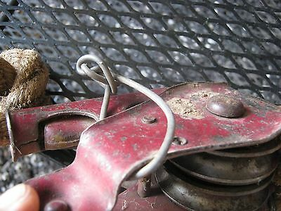 "Vintage 2 Metal Small Pulleys 1/2"" thick 12 FT long Manila Rope 8"