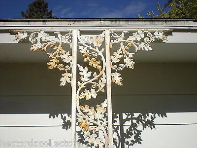 SALE Antique Architectural Salvage Cast Iron Pediment Oak Leaves Acorn Swag Chic 6