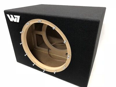 JL Audio 8W7 AE sealed subwoofer box with red plexi logo