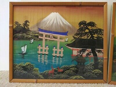 2 Antique Asian Framed Hand Paintings On Silk Behind Glass Bamboo Type Frame 2