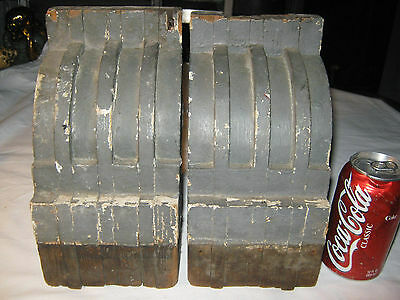 2 Antique Architectural Salvage Wood Block Corbel Industrial Art Statue Bookends 3