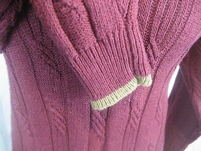 Men S Austin Reed London V Neck Cable Knit Ramie Cotton Maroon Sweater Size L 18 89 Picclick