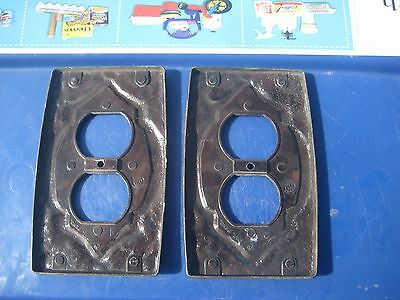 Vintage ** AMEROCK ** Metal 1-Gang Duplex Outlet Receptacle Wall Plate Set of 2 5