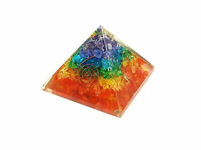 LARGE LG-70mm Orgonite 7 Chakra Rainbow Orgone Pyramid EMF Protection FengShui 2