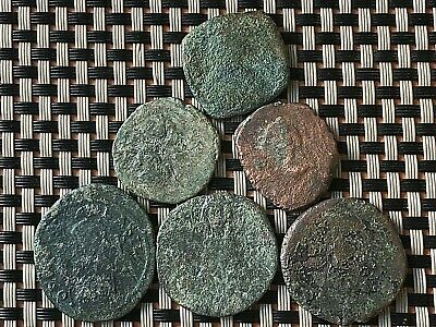 Lot Of 6 Ancient Byzantine Medieval Bronze Coins Ae Follis & Half-Follis 2