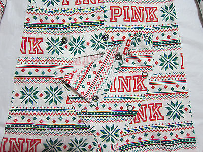 Victoria Secret Pink SNOWFLAKE THERMAL WAFFLE LONG JANE ONE PIECE PAJAMA L LARGE 2