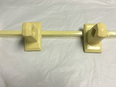 "1950's NEW OLD STOCK  Bathroom  Towel Bar Porcelain Ends Wood Bar YELLOW 26"" 4"