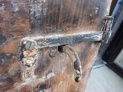 "Early 19th century RAISED panel door w/ SMOKED design decor 76 x 30 x 1 7/16"" 3"