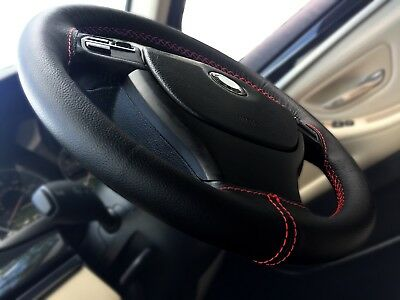 FOR NISSAN PATROL 1997-2013 BLACK REAL LEATHER STEERING WHEEL COVER WHITE ST NEW