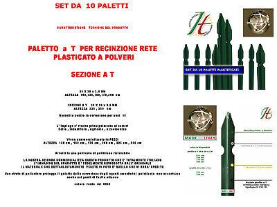 Paletti Per Recinzione Plastificati Per Rete Metallica Altezza Cm .. Set 10 Pz