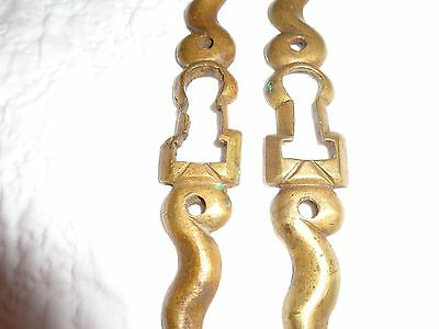 Rare Pair of 19th.c Solid Brass Serpentine Key Escutcheons 2