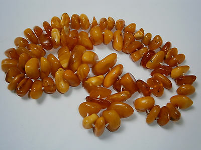 ANTIQUE 72g 羅的海琥珀 BEADS NECKLACE REAL AMBER BUTTERSCOTCH EGG YOLK BALTIC NATURAL 6