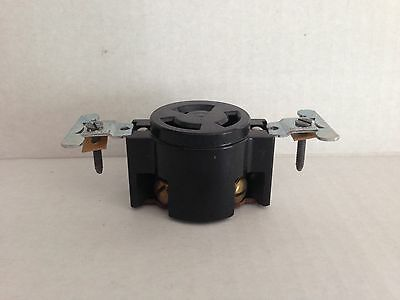 NEW OLD STOCK Leviton BLACK BAKELITE 3 Wire Flush Receptacle Mount 30a 250v 7
