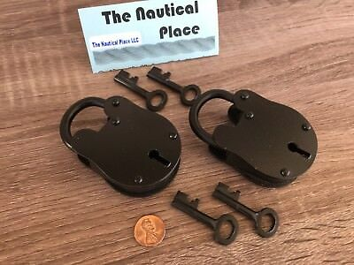(2) x Iron Lock & Keys ~ Old Vintage Antique 1800s Style ~ Black Jailer Police 9