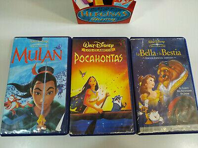 La Bella y la Bestia - Pocahontas - Mulan - Walt Disney - 3 x VHS Cinta Español 4