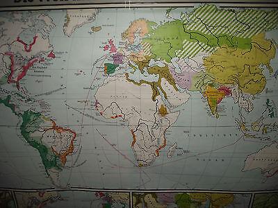 ALTE LEHRKARTE LANDKARTE schulwandkarte old school wall map ...