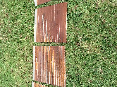"2 pieces of Vintage Metal CORRUGATED TIN 26"" x 24"" 2"