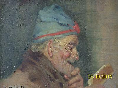 """Rare"" Alpenore Gobbi Antique Original Oil On Panel Side Portrait Painting 6"