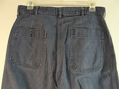 GENUINE WW2 US NAVY USN BLUE DENIM PANTS DUNGAREE TROUSERS WWII 29x28 VINTAGE 5