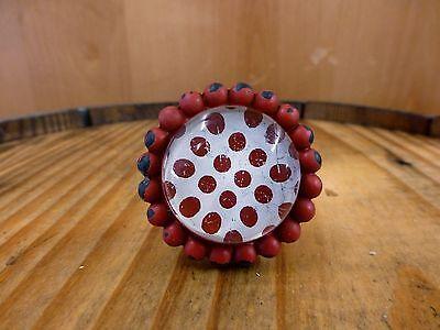 2 RED SUN FLOWER GLASS DRAWER CABINET PULLS KNOBS VINTAGE chic garden hardware
