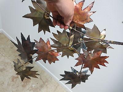 Vintage Mid Century Metal Leaf Leaves Wall Sculpture 3