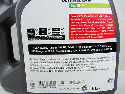 Castrol GTX Ultraclean 10W-40 10W40 5Liter Motoröl Öl A3/B4 VW 50101 50500 MB 5