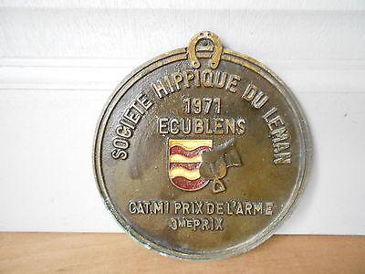 1971 VINTAGE cast iron ARMS PRIZE AWARD Plaque Horse Show du LEMAN ..ECUBLEN 2