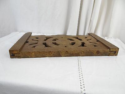 """14"" Antique French Oak Wood Carved Pediment Panel Ornament - Lions 8"