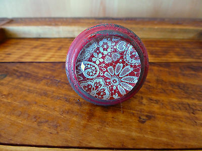 4 RED-WHITE LACE GLASS DRAWER CABINET PULLS KNOBS VINTAGE restoration hardware 5