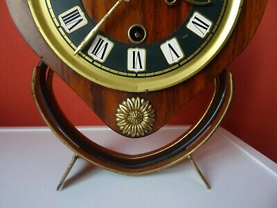 OLD WINTAGE  RETRO CLOCK Mid Century Orfac Pendulum Metal Table Mantle Clock 6