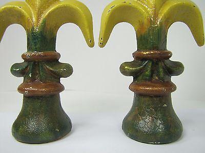 Old Pair Fleur De Lis Cast Iron Figural Finials nos architectural hardware 8