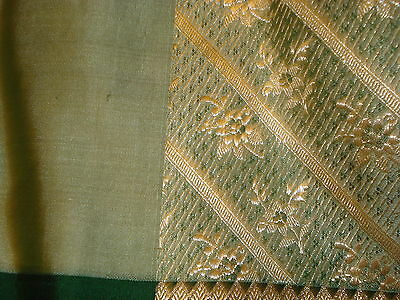 Bn Ladies Green & Gold Banarsee Saree With Heavy Border With Blouse Piece 7