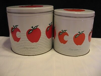 Charmant ... Set Of 2 Vintage Kitchenware White Tin Canister With Red Apple Design  (D87) 3