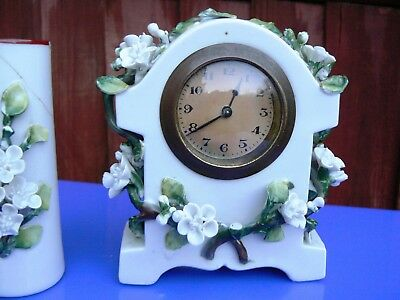 Antique Late Victorian Ceramic Table Clock Set 4