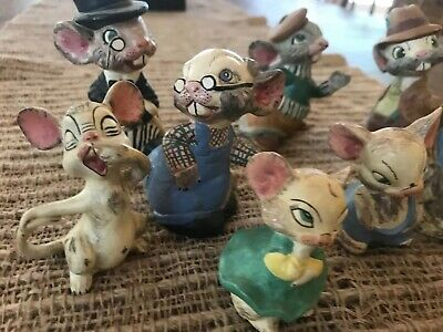 Antique 1919 8 Bisque Nodder Clay Mice Family German? Hand painted & signed RARE 3