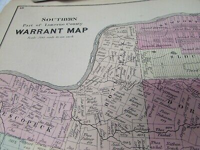 Antique - Warrant Map Southern Part Of Luzerne County Pa  - 1873 - Original 2